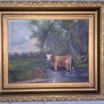 Antique Oil Painting Folk Art Cow Period Frame Nice Look