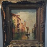 Antique Oil Painting Venice Italy Waterway