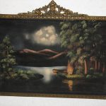 Antique Velvet Oil Painting Plaster Frame Lanscape