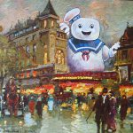 Artist Paints Pop Culture Characters Into Old Thrift Store Paintings Bored