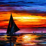 Away Sunset Palette Knife Oil Painting Canvas Art Deco Leonid