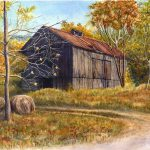 Barn Landscape Painting Print Watercolor Cathy