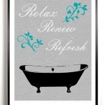 Bathroom Art Print Bath Tub Artwork Poster Gray