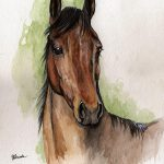 Bay Horse Portrait Watercolor Painting Angel