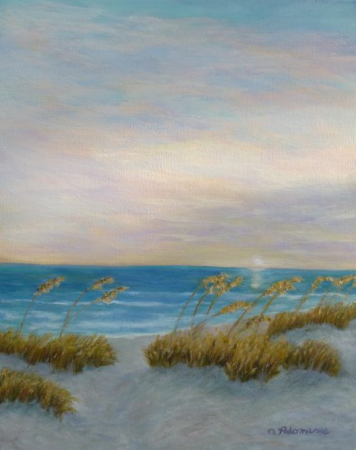 Beach Sunset Painting Amber Palomares Coastal Nature