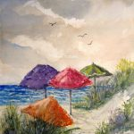 Beach Umbrella Print Watercolor Seascape Painting