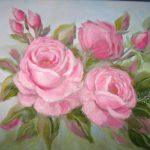 Beautiful Pink Romantic Roses Original Oil Painting