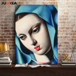 Beauty Blue Head Red Lips Lady Tamara Lempicka Classic Canvas Print Oil Painting