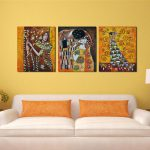 Bedroom Famous Artist Art Deco Kiss Abstract Cheap Modern Canvas Prints Panel