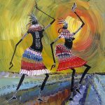 Black Dancers Decor Thick Paints African Painting Oil