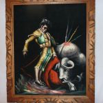 Black Velvet Painting Matador Mexico Vintage Kitsch Framed Bull Fighter Urbanart