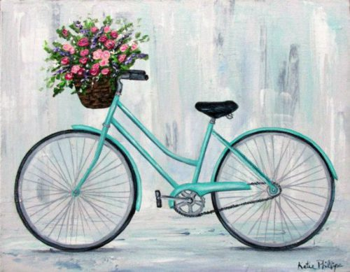 Blue Bicycle Painting Vintage Flowers Basket Florist Table