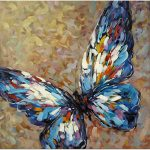 Blue Butterfly Hand Painted Modern Impressionist Oil Painting Wall Art