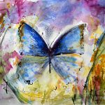 Blue Butterfly Watercolor Painting Ginette