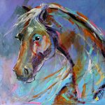 Blue Horse Painting Giveaway Texas Artist Laurie Pace