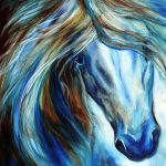 Blue Mane Event Equine Abstract Painting Marcia