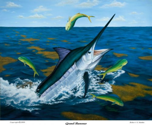 Blue Marlin Sport Fishing Art Painting Print Like Guy Harvey Don Ray