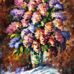 Blue Red Flowers Palette Knife Oil Painting Canvas Leonid