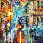 Blue Trolley Palette Knife Oil Painting Canvas Leonid