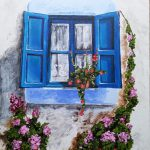 Blue Window Original Signed Painting Sale Coa