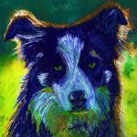 Border Collie Dog Abstract Painting Print Blue