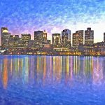 Boston Skyline Night Painting Rachel