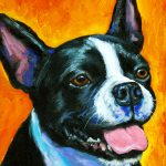 Boston Terrier Orange Painting Dottie