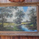 Brown Large Framed Oil Painting Canvas Landscape Signed