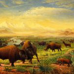 Buffalo Fox Great Plains Western Landscape Oil Painting Bison Americana Historic
