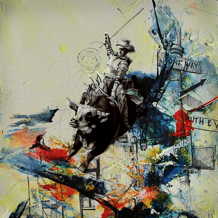 Bull Rodeo Painting Corporate Art Task
