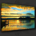 Calm Lake Sunset Relaxing Seascape Canvas Poster Modern Many Oil Paintings Beautiful