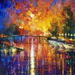 Canal Fort Lauderdale Palette Knife Oil Painting Canvas Leonid