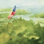 Cape Cod Beach American Flag Painting Beverly Brown