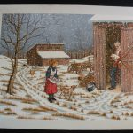Carson Serigraph Oil Painting Canvas Collecting Eggs Farm Chicken Winter Amish