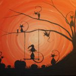 Cats Love Halloween Acrylic Canvas