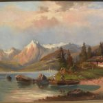 Century European Painting German Austrian Mountain Lake Jbfinearts Ruby