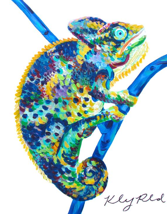 Chameleon Painting Kelsey Rowland Colorful