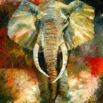 Charging African Elephant Painting Christiaan
