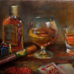 Cigar Bar Paintings Whiskey Poker Chips Purchase Oil