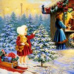 Classic Vintage Style Christmas Celebration Paintings Kids Story Time