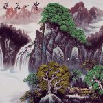 Cloudy Mountain Waterfall Asian Art Landscape Landscapes Asia Paintings Chinese