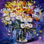 Colored Flowers Palette Knife Oil Painting Canvas Leonid