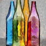 Colored Glass Bottles Painting Dragica Micki