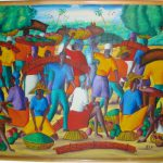Colorful Haitian Oil Painting Canvas Signed Artist Job