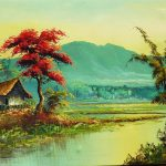 Colorful Landscape Oil Painting Tropical Asian Scene Possibly Ruby