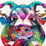 Colorful Pig Art Squeal Appeal Sharon Cummings