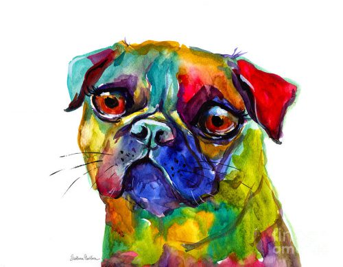 Colorful Pug Dog Painting Svetlana