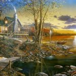Comforts Home Jim Hansel Log Cabin Lake Print