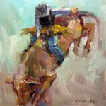 Connie Chadwell Hackberry Street Studio Bullrider Original Oil Figurative Rodeo