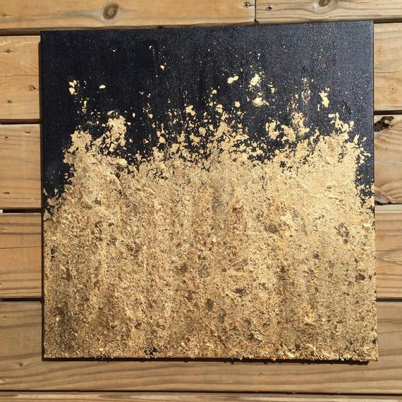 Contemporary Gold Leaf Painting Original Abstract